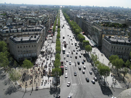Champs Elysees as seen from the Arc de Triomphe