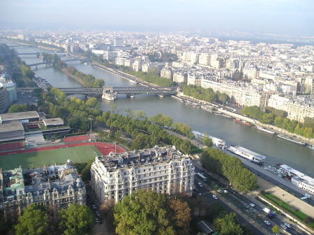 View of the Seine River from the Eiffel Tower